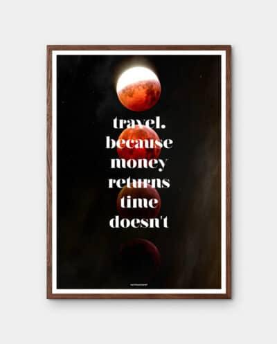Travel plakat i mørk egetræramme