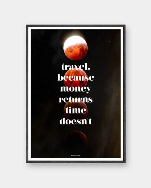 Travel plakat med måner og tekst i mørk egetræ ramme