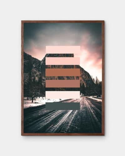 Orange Shades plakat med natur baggrund og orange farver i mørk egetræramme