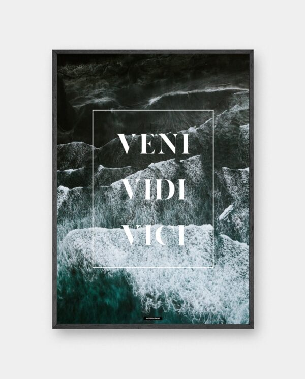 Veni Vidi Vici plakat - Motiverende natur plakat med citat: jeg kom, jeg så, jeg erobrede