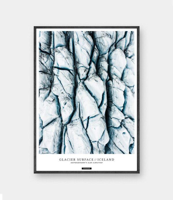 Glacier Surface plakat - Natur fotokunst billede af Islands gletscher