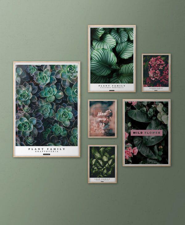 Grøn botanisk plante billedvæg