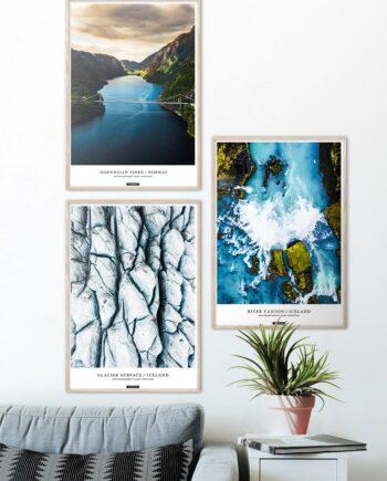 Plakatsæt med 3 natur plakater fra Norge og Island