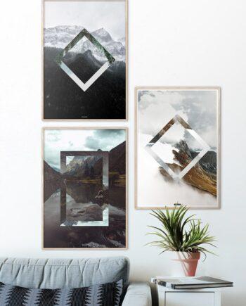 Plakatsæt med 3 natur plakater med bjerge og himmel
