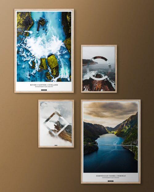 Nordisk natur billedvæg med natur plakater