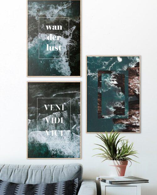 Plakatsæt med 3 plakater med hav og tekst