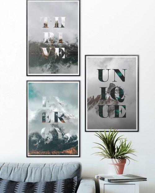 Plakatsæt med 3 motiverende natur plakater
