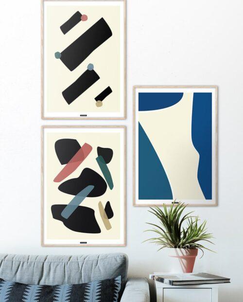 Plakatsæt med abstrakte plakater