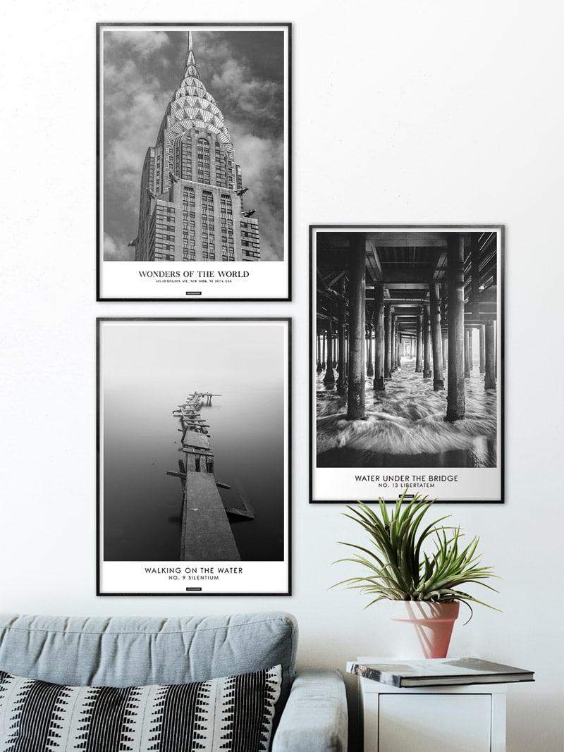 Plakatsæt med 3 sort hvid plakater