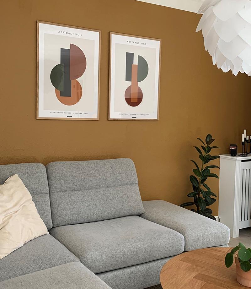 Abstrakt NO 5 & 6 plakater i egetræ ramme